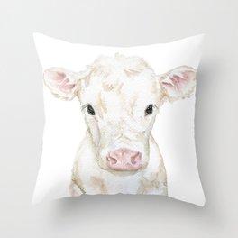 Baby White Cow Calf Watercolor Farm Animal Throw Pillow
