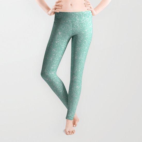 Pastel Turquoise Glitter Leggings