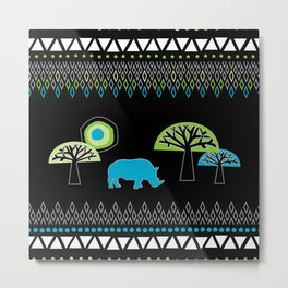 African Rhino (Cool colors) Metal Print