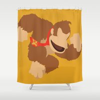 donkey kong Shower Curtains featuring Donkey Kong(Smash) by ejgomez