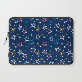 Night sky with colorful stars and dots on blue background Laptop Sleeve