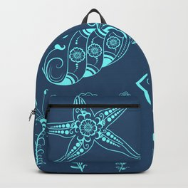 Vector abstract marine creatures in indian mehndi style. Backpack