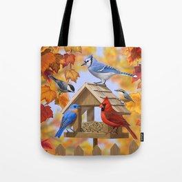 Autumn Bird Feeder Gathering Tote Bag
