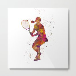 Woman plays tennis in watercolor 08 Metal Print