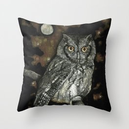 Night Vision // Owl Moon Forest Night Trees Wings Feather Screech Animal Bird Wild Wilderness Throw Pillow