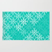 snowflake Area & Throw Rugs featuring SNOWFLAKE by Dash of noir