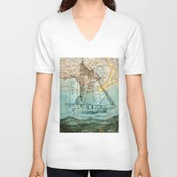 sailboat V-neck T-shirts featuring Mom's Sailboat by Brittany Rae