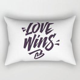 Love Wins Brush Lettering Rectangular Pillow