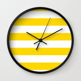 Horizontal Stripes - White and Gold Yellow Wall Clock