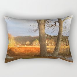 Delaware River Glowing Fall Foliage Rectangular Pillow