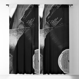 Long-playing Records and Covers in Black and White - Good Memories #decor #society6 #buyart Blackout Curtain