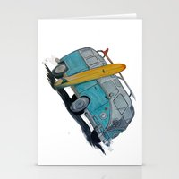 vw bus Stationery Cards featuring VW Bus by AshyGough