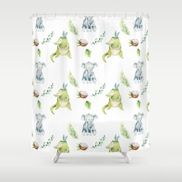 Hand drawn green gray watercolor tropical elephant crocodile pattern Shower Curtain