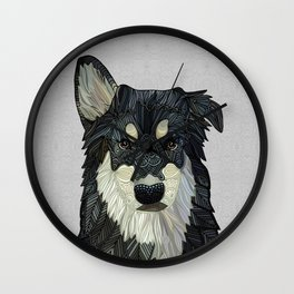 Bjorn - Malamute Samoyed Husky Mix Wall Clock