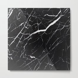 Marble Black Simple  Metal Print