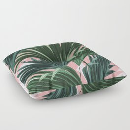 Pink and green palm trees Floor Pillow