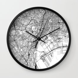 Tokyo White Map Wall Clock