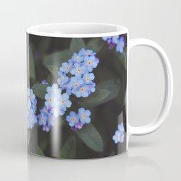 Blue Dark Floral Garden: Forget-me-nots Coffee Mug