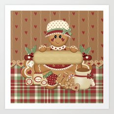 Gingerbread Country Christmas Art Print