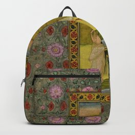 Lady with a Crane, Indian, Kishangarh School floral masterpiece painting, red poppies and peonies  Backpack