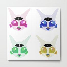 4X Alien Kitty Metal Print