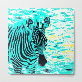 Pop Art Zebra 1 Metal Print