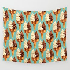 Ice Cream Pattern - Teal Wall Tapestry