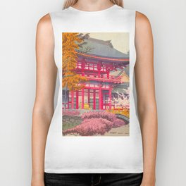 Japanese Woodblock Print Vintage Bright East Asian Red Pagoda Spring Garden Biker Tank