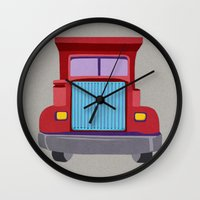 truck Wall Clocks featuring red truck by elvia montemayor