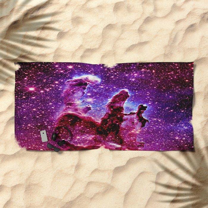 galaxy nebula : Pink & Purple pillars of creation Beach Towel