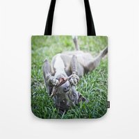 pit bull Tote Bags featuring Pit Bull Puppy by Paw Prints By Jamie