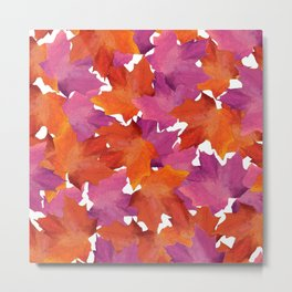 Fall Purple Pink Orange Brown Watercolor Leaves Pattern Metal Print
