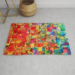 PAINTING THE SOUL - Vibrant Collage Mixed Abstract Acrylic Watercolor Painting Rainbow Colorful Art Rug