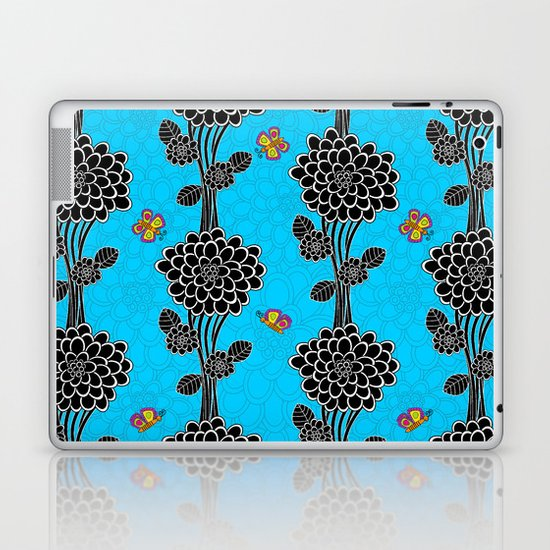 """Flowered tree""  in blue. Laptop & iPad Skin"