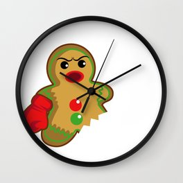 Gingerbread Christmas Fight Boxing Funny Gift Wall Clock