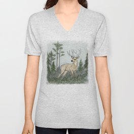 Deer in the Clearing Unisex V-Neck
