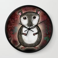 gemma correll Wall Clocks featuring Gemma the Gerbil by Studio 8107