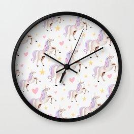 Rainbow Unicorns — Hearts & Stars Wall Clock