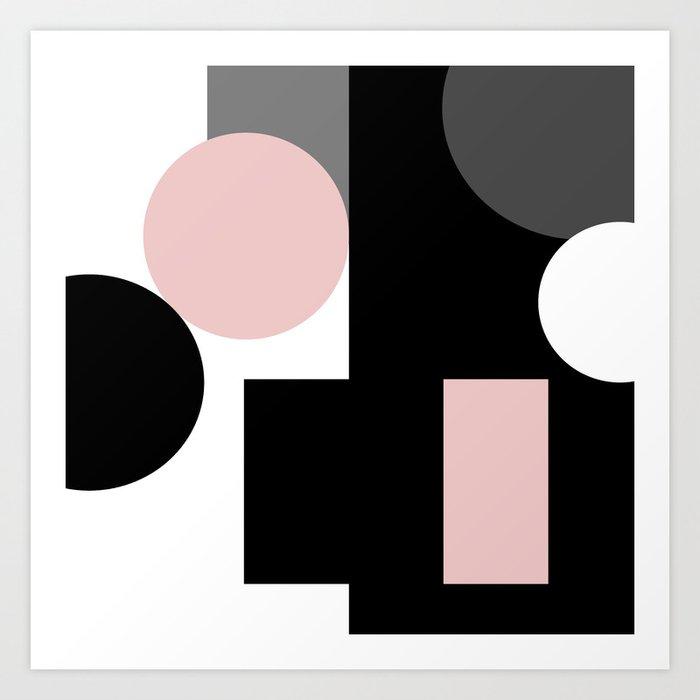 An abstract geometric pattern   Geometric shapes   Black pink white pattern    Art Print by fuzzyfox85