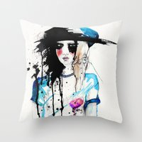 friday Throw Pillows featuring Friday by Holly Sharpe