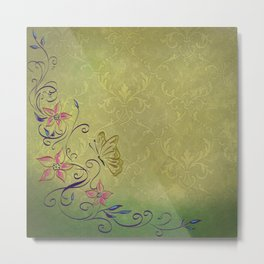 Texture Paper Background Flowers Metal Print