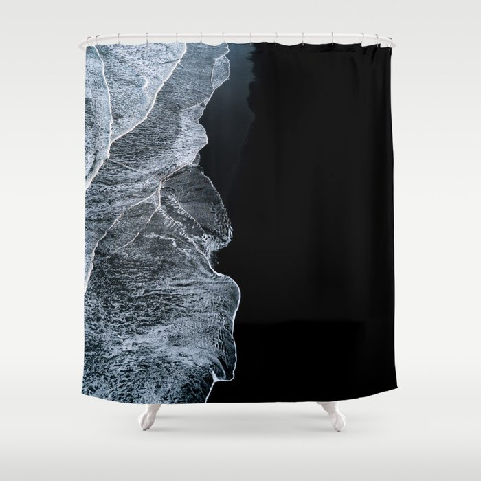 Waves on a black sand beach in iceland - minimalist Landscape Photography Shower Curtain