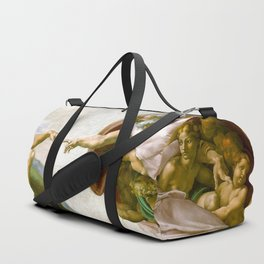 The Creation of Adam Painting by Michelangelo Sistine Chapel Duffle Bag