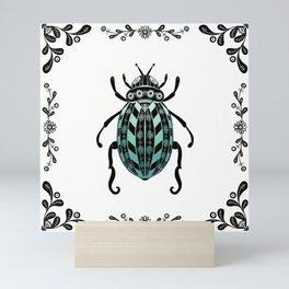 Scarab Beetle-Black and White Mosaic Tile Mini Art Print