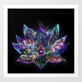 Lotus Flower Glow Art Print