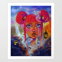 Girl surrounded by dark clouds is jealous of others Art Print
