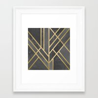 deco Framed Art Prints featuring Art Deco Geometry 1 by Elisabeth Fredriksson