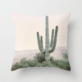 Desert Cactus on Blush Throw Pillow