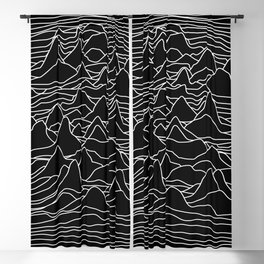Black and white illustration - sound wave graphic Blackout Curtain