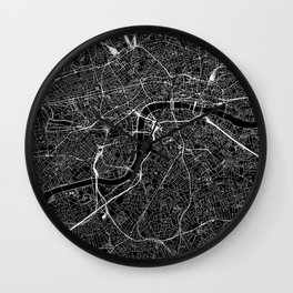 London Black Map Wall Clock